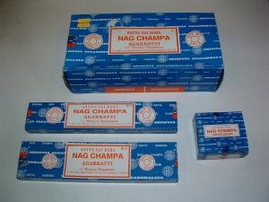 Satya Nag Champa 500 gram $39.99, 250 gram $19.99, 100 gram $9.99, 40 gram $3.99, 15 gram $2.99