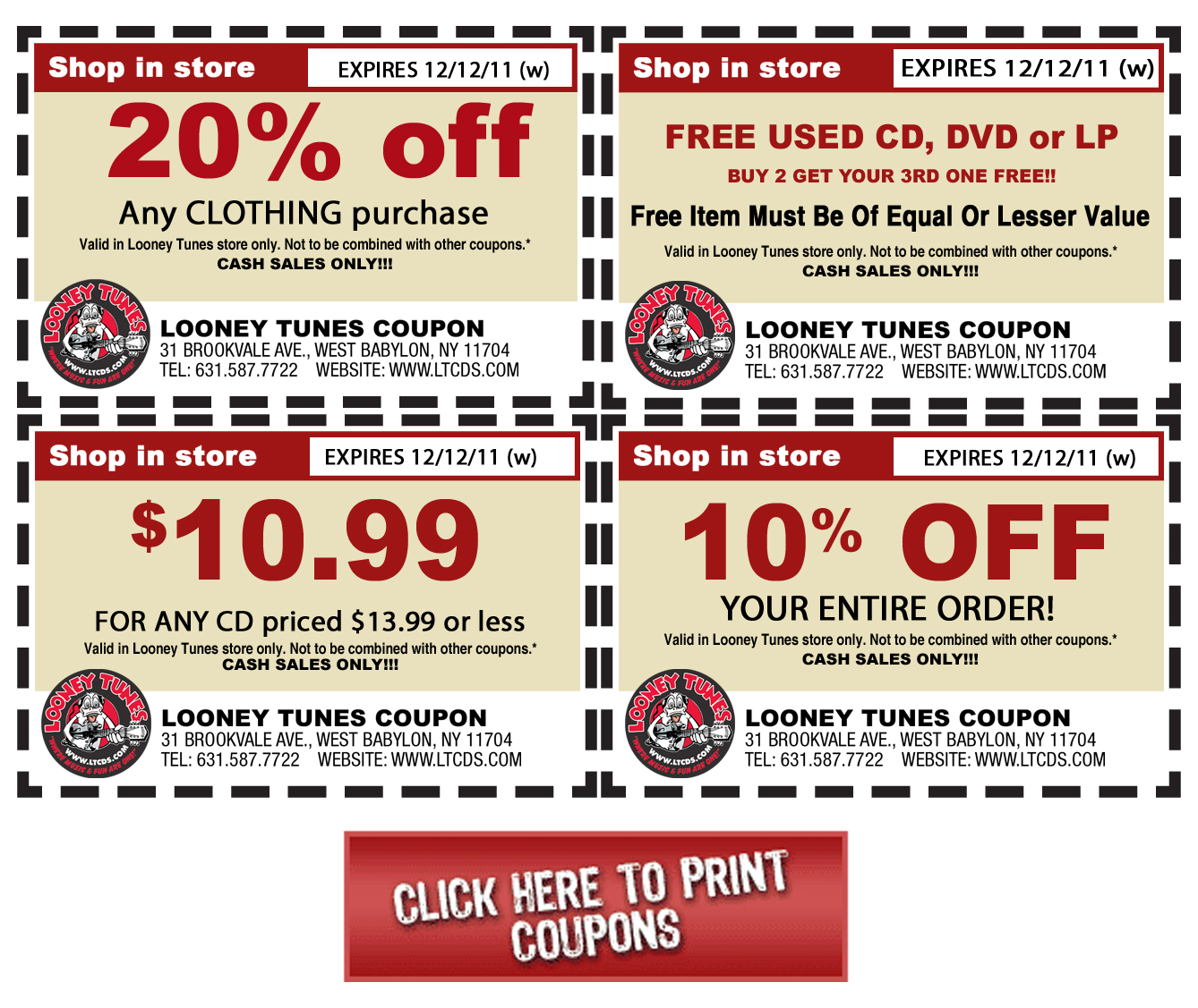 Coupons Looney Tunes